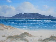 Table Mountain, Cape Town, South Africa, Beach House, Artworks, Landscapes, Paintings, Watercolor, Island