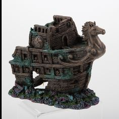 The Top Fin Sunken Horse Ship Aquarium Ornament has realistic detail and amazing craftsmanship that allows your finned friends to venture and hide. Aquarium Ornaments, Aquariums, Pet Accessories, Lion Sculpture, Ship, Horses, Fish, Statue, Future