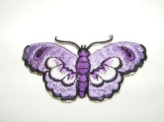 Purple Butterfly Embroidered Iron-on or Sew Patch by LoveLaly