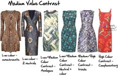 Even with a medium value contrast, you still need to take into consideration your colour contrast. Sticking to ones that are similar to your personal colour contrast is the most flattering, but we can all play one above and one below our colour contrast (and if you're a creative personality, then you can go well outside your 'rules' if you choose). Even if a pattern has both light and dark colours, it will have a medium value contrast if it also includes medium value colours.