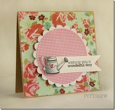 The feminine details in this card and the masterful coloring of the watering can make this a card I would love to get. Created by Kimberly Crawford.