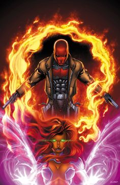 Red Hood and Starfire by BlondTheColorist.deviantart.com on @deviantART