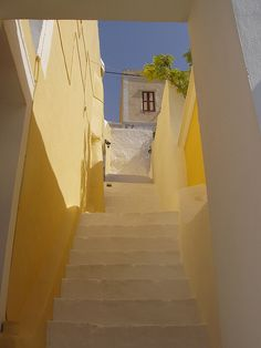 stairs in Symi, Notio Aigaio, Greece lemon yellow Beautiful Islands, Beautiful Places, Deco Nature, Stairway To Heaven, Stairway Art, Mellow Yellow, Yellow Sky, Colour Yellow, Greece Travel