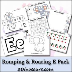 Free Letter E Printable Pack from 3Dinosaurs.com