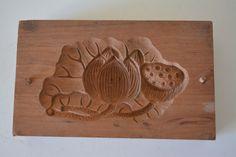 Kashigata sweets mold, hand carved,  antique Japanese kashigata, lotus design by StyledinJapan on Etsy