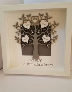 personalised box picture frame family tree mothers day nans gift present | eBay