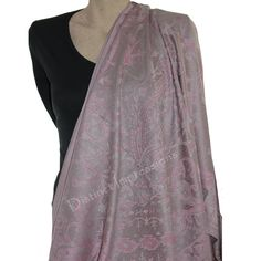 Grey & Pink Quality 100% Pashmina