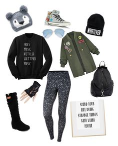 """""""Winter Saturday"""" by kk-monkey on Polyvore featuring San Diego Hat Co., Rebecca Minkoff, WithChic, Converse, Black, Victoria Beckham and NIKE"""