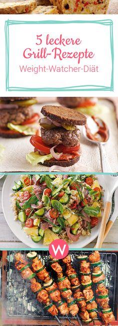 Wer mit Weight Watchers abnehmen möchte, kann es auch in der Grill-Saison krachen lassen - etwa mit diesen 5 neuen Grill-Rezepten mit 0, 2, 4 oder 6 Smartpoints! #abnehmen #essen #rezepte #grillen #diät #weightwatchers #burger #brot #spieße #avocado #getränk