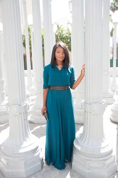 Downtown Demure // Modest Fashion Tips // Feeling classy in this flowy teal maxi dress from Mode-sty + a giveaway!
