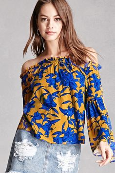 A woven off-the-shoulder top feautring a contrast floral print, ruffled neckline, long sleeves with bell cuffs, and a billowy silhouette. This is an independent brand and not a Forever 21 branded item.