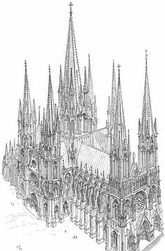 La cathédrale idéale suivant Viollet Le Duc - 19th century architect's vision of the 'ideal cathedral' following the #Gothic style