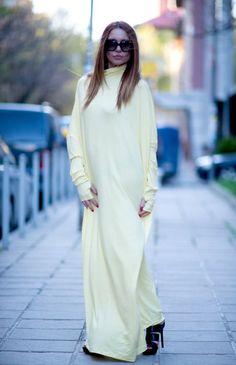 Maxi Dress / Extravagant Long Plus Size Kaftan Dress by EUGfasion Hijab Fashion, Fashion Outfits, Women's Fashion, Hijab Dress, Maxi Dresses, Yellow Maxi Dress, Cotton Kaftan, Fashion Updates, Hoodie Dress