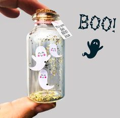 Ghost Card Message in a bottle Personalized Halloween gift You are fabBOOlous