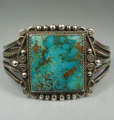 Stunning Hvy Navajo Squared Royston Turquoise Bracelet