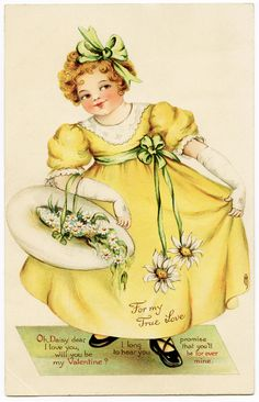 Image detail for -FREE Vintage Postcard ~ Daisy Dear | Old Design Shop Blog