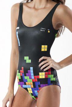 retro gamer swimsuit (TETRIS)