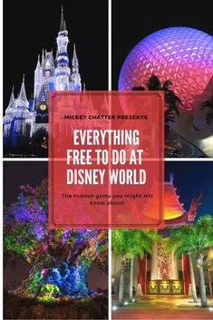 Free things to do at Disney! All the free things to do in the parks that you may not know about. Find out what you can do for free at Magic Kingdom, Epcot, Hollywood Studios, Animal Kingdom and the resorts! Save on your vacation and get Disney On A Budget, Disney Vacation Planning, Orlando Vacation, Disney World Planning, Walt Disney World Vacations, Disney Parks, Vacation Ideas, Disney Travel, Disney Bound