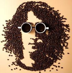 Amazing Coffee Art - Thai photographer Jatuporn K.Suwan used coffee beans to create a portrait of John Lennon! I Love Coffee, Coffee Break, My Coffee, Coffee Cups, Morning Coffee, Coffee Town, Coffee Meme, Morning Joe, Drink Coffee