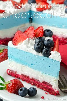 No Bake Summer Berry Cheesecake Recipe NO BAKE SUMMER BERRY CHEESECAKE – Perfect treat to beat the heat. The red, white and blue cake layers make it an awesome of July cake. It's simple, light and full of fresh summer berries! Patriotic Desserts, 4th Of July Desserts, Summer Desserts, No Bake Desserts, Just Desserts, Delicious Desserts, Dessert Recipes, Yummy Food, White Desserts