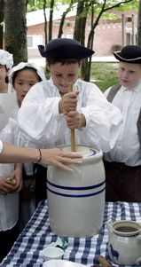 Making butter with a butter churn