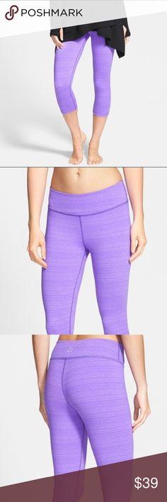 5d3df2b5a2f91f BEYOND YOGA Stripe Hype Capri Leggings Lavender color with subtle  horizontal stripes. From Beyond Yoga. Beyond Yoga Pants Leggings