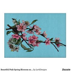 Beautiful Pink Spring Blossom on Blue Cutting Board