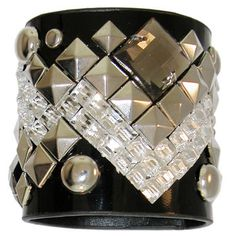 """2.5"""" Wide Patent Leather Finish Cuff with Mirrors, Studs and Stones"""