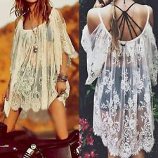 Top Robe Dentelle Plages Vintage Boho Hippie broderie Floral Crochet Partie Robe