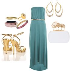 """Accessorizing"" by zcampus on Polyvore. Taking a simple maxi dress to any gala event."