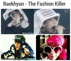 Baekhyun's unique fashion sense that is completely out of this world. xD <<< Baekhyun and Rap Monster has kindof the same fashion sense as I and my friends shout at me for it. Kaisoo, Chanbaek, Exo Ot12, Kpop Exo, Exo K, Memes Exo, Funny Kpop Memes, Btob, Vixx