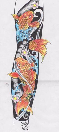 Tattoo sleeve koi fish deviantart 20 ideas for 2019 Japanese Water Tattoo, Japanese Tattoo Art, Japanese Tattoo Designs, Japanese Sleeve Tattoos, Pez Koi Tattoo, Koi Tattoo Sleeve, Full Sleeve Tattoos, Koi Fish Tattoo Forearm, Koy Fish Tattoo