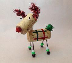 Wine Cork Reindeer Ornament  on Etsy, $10.00
