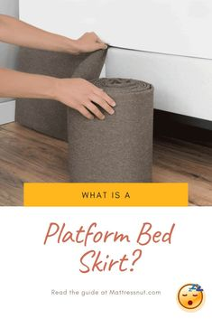 What is a Platform Bed Skirt? | With regard to functionality, the skirt that drapes around the bed base prevents dust from collecting underneath. This is why it is also known as the dust ruffle. In the past (and still even now to some extent), platform bed skirts were utilized to insulate the underside of beds and keep draft from unexpectedly cooling the bed. #decor #homedecor #bedroom #furniture #platformbeds #mattressnut Raised Platform Bed, Platform Bed Mattress, Best Platform Beds, Platform Bedroom, Platform Bed With Storage, Platform Bed Frame, Bed Storage, Bedroom Storage, Storage Spaces