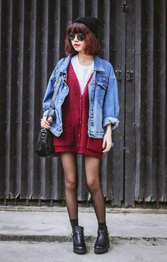 Beanie Hat, Sunglasses, Cardigan, Denim jacket, Tights & Boots - http://ninjacosmico.com/29-grunge-outfit-ideas-fall/