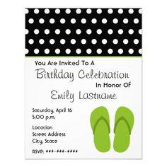 Green Flip Flops / Polka Dots Birthday Party Custom Announcements