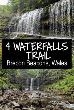 The four falls walk is a series of 4 waterfalls along a trail in the Brecon beacons, including one which you can walk behind. The four waterfalls trail includes Sgwd Clun-Gwyn, Sgwd Isaf Clun-Gwyn, Sgwd Y Pannwr and my favourite, Sgwd Yr Eira. Beautiful Places To Visit, Cool Places To Visit, Places To Travel, Travel Destinations, Monteverde, Montezuma, Cardiff, Waterfall Trail, Visit Wales