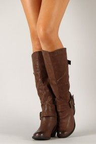 Hoshi-1 Buckle Round Toe Cowboy Knee High Boot...Easy A costume ;)
