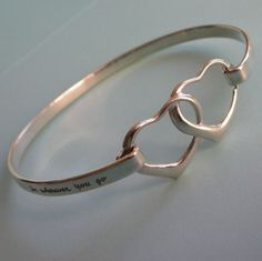 engraved double heart bangle
