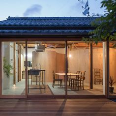 Tato Architects has replaced all of the walls inside a traditional Japanese house with curving plywood screens