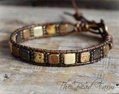 Leather Bracelet- a Boho style leather bracelet with tile beads Beaded Wrap Bracelets, Cord Bracelets, Bracelets For Men, Handmade Bracelets, Beaded Jewelry, Craft Jewelry, Jewelry Ideas, Bracelet Making, Jewelry Making