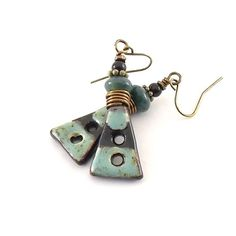 Rustic Blue Speckled Earrings Ceramic Earrings by CinLynnBoutique