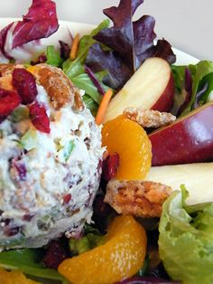 Door county chicken salad at egg harbor cafe: two generous scoops of all white meat chicken salad blended with toasted pecans, dried cranberries and crunchy Good Healthy Recipes, Easy Healthy Dinners, Easy Dinner Recipes, Avocado Chicken Salad, Chicken Salad Recipes, Toasted Pecans, Sugared Pecans, Egg Harbor Cafe, Door County