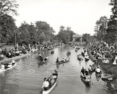 1907, Detroit. Frankly, I can think of few worse dates than canoeing with a phonograph, pillows, and corset, on a packed little canal in Detroit. But maybe I'm a cynic....