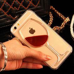 Liquid Quicksand Red Wine Transparent Phone Case Hard