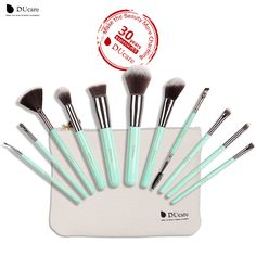 DUcare 11PCS Makeup Brushes Set Professional Light Green Handle Make Up Brush Powder Foundation Angled Eyeliner Brush with Bag