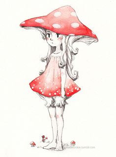 mushroom pixie thing~ i'm so creative weeee i'm thinking about adding watercolour commissions to my list. Fairy Drawings, Fantasy Drawings, Cool Art Drawings, Art Sketches, Fantasy Art, Mushroom Drawing, Mushroom Art, Pretty Art, Cute Art