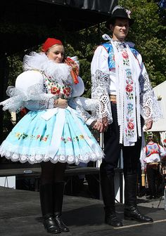 View of the front part of the ceremonial costume of a free pair of Moravian Slovakia (Slovácké Wine Festival and Heritage Uherske Hradište 2011).