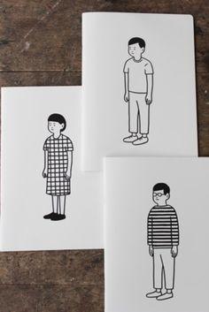 BLOCKGIRL、BLANKBOY、BORDERBOY。  シンプルな人が描かれたノートです。 着用している服に注目です!