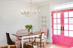 #pink #doors #frenchdoors #shiplap #dining #table #farmhouse #homedecor